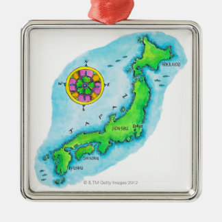 Map of Japan 2 Silver-Colored Square Decoration