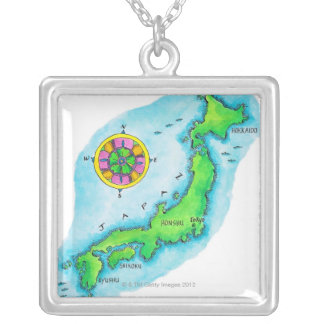 Map of Japan 2 Silver Plated Necklace