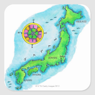 Map of Japan 2 Square Sticker