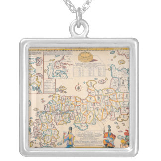 Map of Japan 3 Silver Plated Necklace