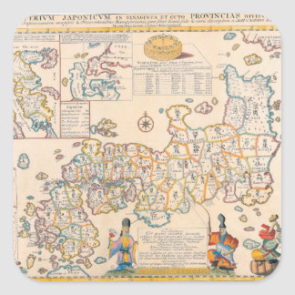 Map of Japan 3 Square Sticker