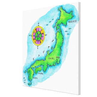 Map of Japan 5 Canvas Print