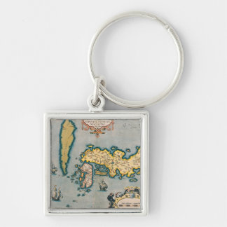 Map of Japan 5 Silver-Colored Square Key Ring