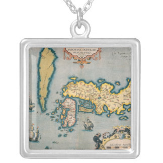 Map of Japan 5 Silver Plated Necklace