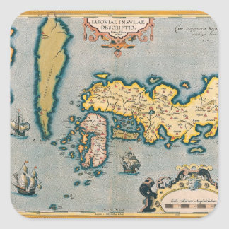Map of Japan 5 Square Sticker