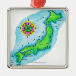 Map of Japan Silver-Colored Square Decoration