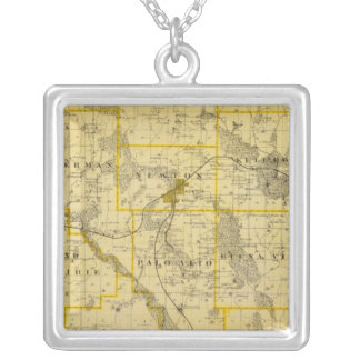 Map of Jasper County, State of Iowa Silver Plated Necklace
