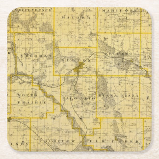 Map of Jasper County, State of Iowa Square Paper Coaster
