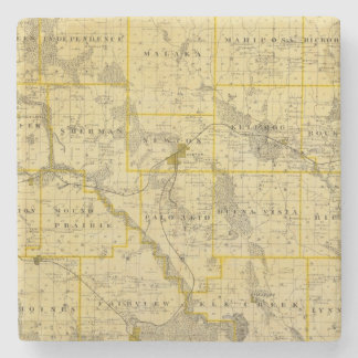 Map of Jasper County, State of Iowa Stone Beverage Coaster