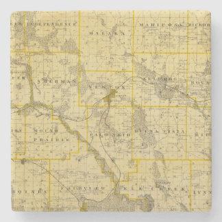 Map of Jasper County, State of Iowa Stone Coaster