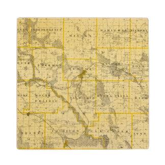 Map of Jasper County, State of Iowa Wood Coaster