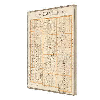 Map of Jay County Canvas Print