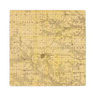 Map of Jefferson County, State of Iowa Maple Wood Coaster