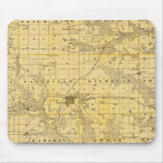 Map of Jefferson County, State of Iowa Mouse Mat