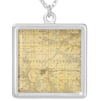 Map of Jefferson County, State of Iowa Silver Plated Necklace