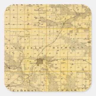 Map of Jefferson County, State of Iowa Square Sticker
