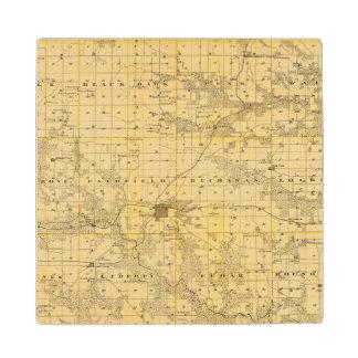 Map of Jefferson County, State of Iowa Wood Coaster