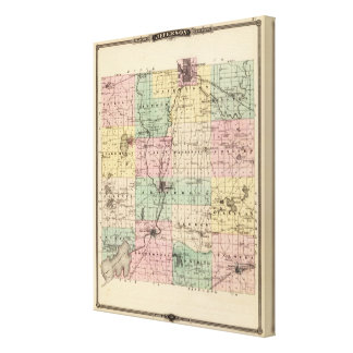 Map of Jefferson County, State of Wisconsin Canvas Print