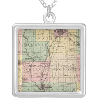 Map of Jefferson County, State of Wisconsin Silver Plated Necklace