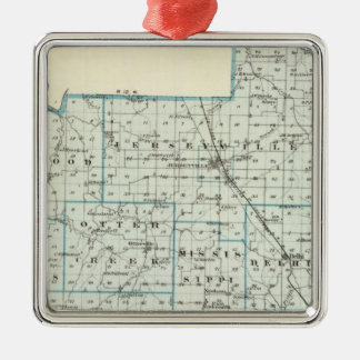 Map of Jersey County Christmas Ornament