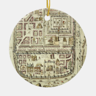 Map of Jerusalem and the surrounding area, from 'C Round Ceramic Decoration