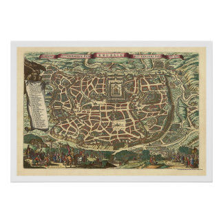 Map of Jerusalem by Nicolaes Visscher 1660 Poster