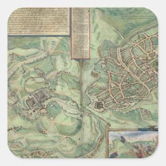 Map of Jerusalem, from 'Civitates Orbis Terrarum' Square Sticker