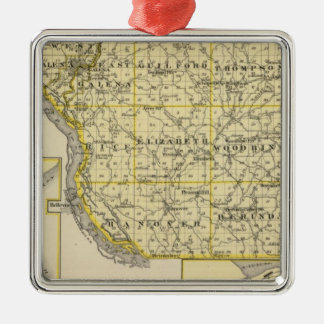 Map of JoDaviess County, Moline and Dunleith Christmas Ornament