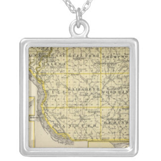 Map of JoDaviess County, Moline and Dunleith Silver Plated Necklace