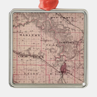 Map of Johnson County, State of Iowa Christmas Ornament