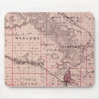 Map of Johnson County, State of Iowa Mouse Mat
