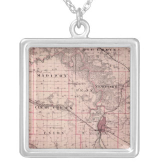 Map of Johnson County, State of Iowa Silver Plated Necklace