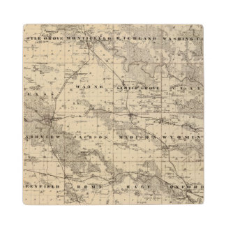 Map of Jones County, State of Iowa Maple Wood Coaster