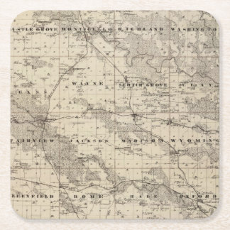 Map of Jones County, State of Iowa Square Paper Coaster