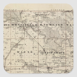 Map of Jones County, State of Iowa Square Sticker