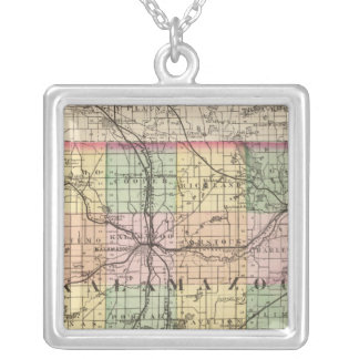 Map of Kalamazoo County, Michigan Silver Plated Necklace