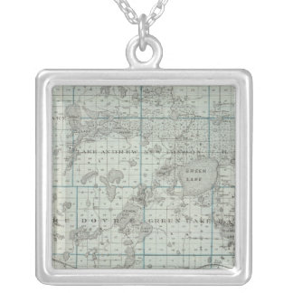 Map of Kandiyohi County, Minnesota Silver Plated Necklace