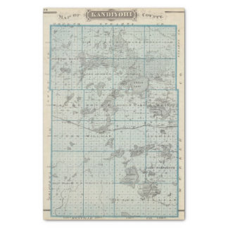 Map of Kandiyohi County, Minnesota Tissue Paper