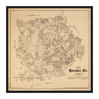 Map of Kendall County, Texas (1879) Canvas Print