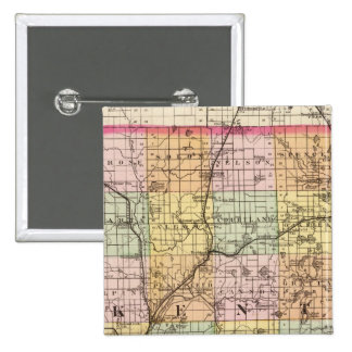 Map of Kent County, Michigan 15 Cm Square Badge