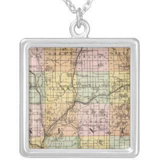 Map of Kent County, Michigan Square Pendant Necklace