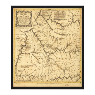 Map of Kentucke (Kentucky) from 1784 Gallery Wrapped Canvas