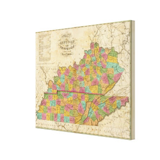 Map of Kentucky And Tennessee Canvas Print