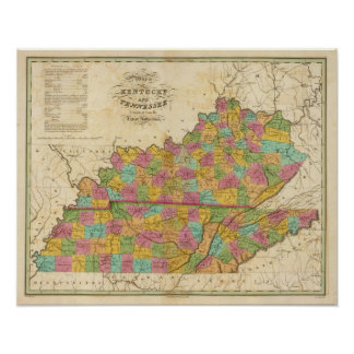 Map of Kentucky And Tennessee Poster