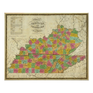 Map of Kentucky and Tennessee Print