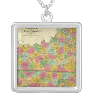 Map of Kentucky and Tennessee Silver Plated Necklace