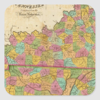 Map of Kentucky And Tennessee Square Sticker