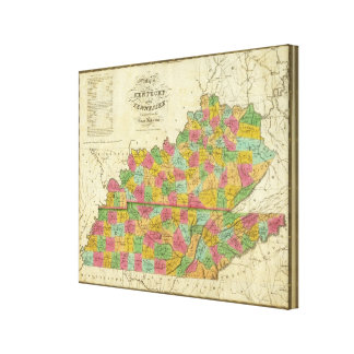 Map of Kentucky and Tennessee Stretched Canvas Prints