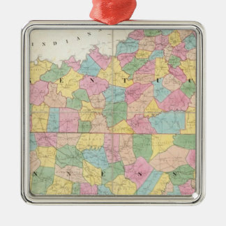Map of Kentucky & Tennessee Silver-Colored Square Decoration