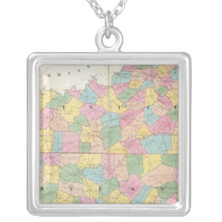 Map of Kentucky & Tennessee Silver Plated Necklace